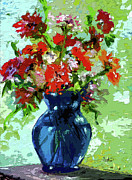 Floral Still Life Mixed Media Prints - Abstract Floral Still Life Blue Vase Print by Ginette Callaway