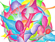 Lime Drawings - Abstract flower by Jera Sky