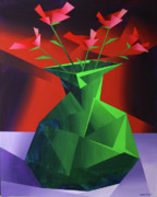 Cubism Paintings - Abstract Flower Vase Prism Acrylic Painting by Mark Webster