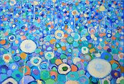 Colorful Floral Gardens Paintings - Abstract Flowers Field by Ana Maria Edulescu