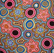 Aboriginal Art Painting Posters - Abstract Folk Art Poster by Karla Gerard