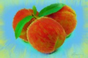 Peaches Digital Art Prints - Abstract Fruit Painting Print by Michael Greenaway