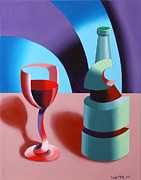 Wine-bottle Paintings - Abstract Futurist Wine and Glass Still Life Oil Painting by Mark Webster