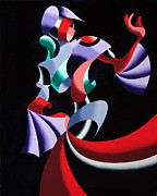 Dancer Paintings - Abstract Geometric Futurist Figurative Oil Painting by Mark Webster