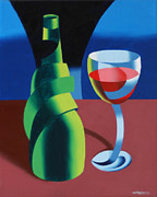 Glass Bottle Painting Posters - Abstract Geometric Wine Glass and Bottle Poster by Mark Webster
