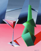 Wine-bottle Paintings - Abstract Glass of Wine with Bottle by Mark Webster