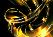Digital_art Posters - Abstract Glass Ribbon Poster by Louis Ferreira