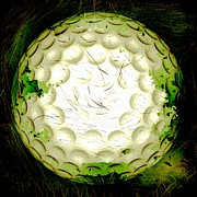 Golf Ball Posters - Abstract Golf Ball Poster by David G Paul