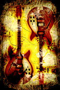 Abstract Grunge Guitars Print by David G Paul