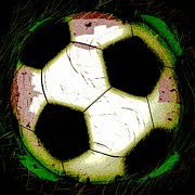 Sports Digital Art Metal Prints - Abstract Grunge Soccer Ball Metal Print by David G Paul