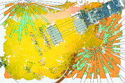 Abstract Music Digital Art - Abstract Guitar by David G Paul