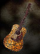 Musical Mixed Media Prints - Abstract Guitar Print by Michael Tompsett