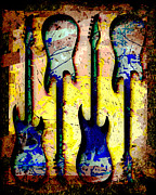 Strings Digital Art Posters - Abstract Guitars Poster by David G Paul