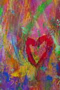 Painted Walls Prints - Abstract heart Print by Garry Gay