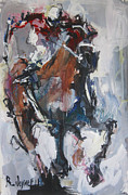 Jockey Paintings - Abstract Horse Racing Painting by Robert Joyner