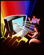 Video Art - Abstract Illustration Of Boy Playing Video Game by David Gifford