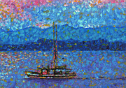 Licensor Framed Prints - Abstract Impressionism Coastal Art Original Painting ALASKAN FISHING BOAT by MADART Framed Print by Megan Duncanson