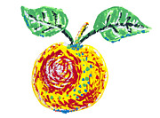 Fruity Drawings - Abstract isolated  painted apple by Aleksandr Volkov