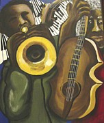 African-american Paintings - Abstract Jazz Duo by Renie Britenbucher