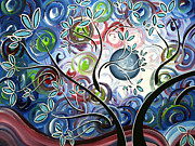 Lime Green Prints - Abstract Landscape Art Original Colorful Painting CANT WAIT FOR SPRING I by MADART Print by Megan Duncanson