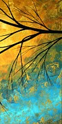 Red Leaves Painting Posters - Abstract Landscape Art PASSING BEAUTY 2 of 5 Poster by Megan Duncanson