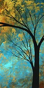 Gold Metallic Metal Prints - Abstract Landscape Art PASSING BEAUTY 3 of 5 Metal Print by Megan Duncanson