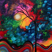 Moon Art - Abstract Landscape Bold Colorful Painting by Megan Duncanson