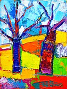Textures And Colors Painting Prints - Abstract Landscape - Dancing Trees Print by Ana Maria Edulescu