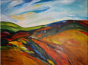 Autumn Vineyards Paintings - abstract landscape-Haloze by Dragica  Micki Fortuna
