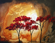 Red Leaves Painting Posters - Abstract Landscape Painting EMPTY NEST 2 by MADART Poster by Megan Duncanson