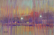 Sunset Drawings Originals - Abstract Landscape Three by Donald Maier