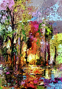 Georgia Mixed Media Posters - Abstract Landscape Wetland Nature Scene Poster by Ginette Callaway