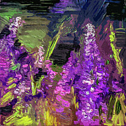 Abstract Lupines Decorative Art By Ginette Print by Ginette Fine Art LLC Ginette Callaway