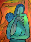 Turquoise Stained Glass Painting Prints - Abstract Maternity Print by Dagmara Czarnota