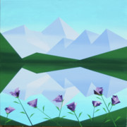Mountains Painting Originals - Abstract Mountain Lake with Purple Flowers by Mark Webster