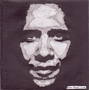 Icons Drawings Originals - Abstract Obama by Angel Roque