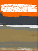 Office Space Painting Prints - Abstract Orange 1 Print by Irina  March