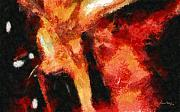 Abstract Orange Red Print by Russ Harris