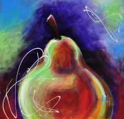 Nutrition Mixed Media - Abstract Painting of a Pear by Johane Amirault