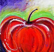 Food And Beverage Mixed Media Originals - Abstract Painting of a Red Apple by Johane Amirault