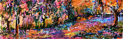 Abstract Landscape Art - Abstract Panoramic Landscape Wetland Magic by Ginette Callaway