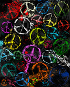 Anti-war Prints - Abstract Peace Signs Collage Print by David G Paul
