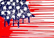 Old Glory Paintings - Abstract Plastic Wrapped American Flag by Cristophers Dream Artistry