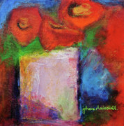 Vase Mixed Media Posters - Abstract Poppies in a White Vase Poster by Johane Amirault