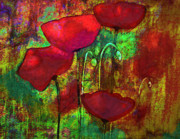 Poppies Artwork Paintings - Abstract Poppies by Julie Lueders