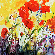 Provence Mixed Media Posters - Abstract Poppies Provence Summer Breeze Poster by Ginette Callaway