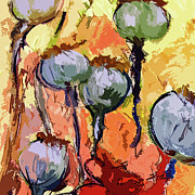 Pods Painting Framed Prints - Abstract Poppy Pods Square Format Framed Print by Ginette Fine Art LLC Ginette Callaway