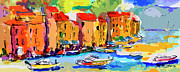 Red Roofs Posters - Abstract Portofino Italy and Boats Poster by Ginette Callaway
