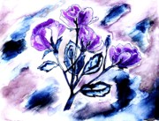 Mixed Medium Prints - Abstract Purple Roses Print by Marsha Heiken