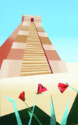 Pyramid Paintings - Abstract Pyramid Acrylic Painting by Artist Mark Webster by Mark Webster